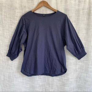 Uniqlo Cotton Popover Boat Neck Blouse